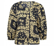 Cropped Bluse mit All-Over Print