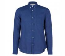 Baumwoll-Hemd mit Brusttasche und Rundhalsausschnitt