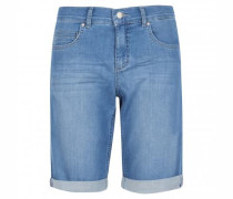 Bermuda-Jeans mit Used-Waschung