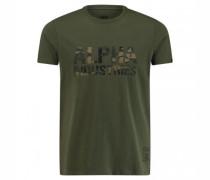T-Shirt 'Camo' mit Logo-Print