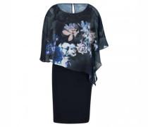 Kleid mit fließendem Überwurf in floraler Optik