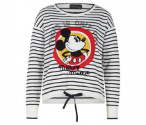 Rundhals-Pullover gestreift mit 'Mickey' Aufdruck