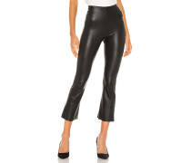 Faux Leather Cropped Flare Hose