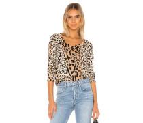 Mixed Leopard Print V-Ausschnitt Pullover