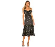 Cherry Print Stretch Satin Petal Kleid