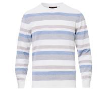 Striped Merino Rundhalspullover White/Grey/Blue