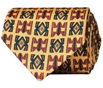 Silk Printed Native Pattern 8 cm Krawatte Dusty Creme