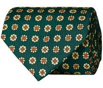 Silk Madder Printed Flower 8 cm Krawatte Green