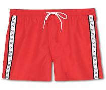 Short Drawstring Logo Badeshort Red