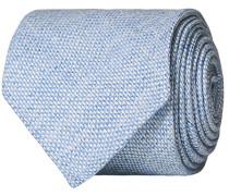 Leinen/Silk Woven Handrolled 8 cm Krawatte Light Blue
