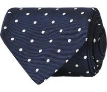 Silk Jacquard Woven Dot 8 cm Krawatte Navy