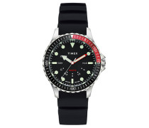 Navi Depth Silicone Strap Steel/Black Dial