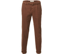 Easy Fit Pleated Leinen/Baumwoll Chinohose Brown