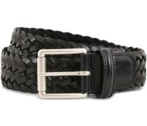 Woven Leder 3,5 cm Gürtel Tanned Black
