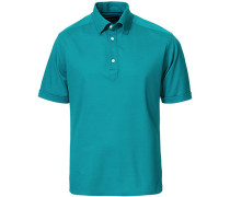 Slim Fit Kurzarm Pique Hemd Turquoise