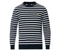 Breton Stripe Rundhalspullover Dark Navy/White