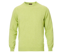 Baumwoll Merino Rundhalspullover Light Green