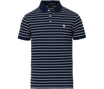 Slim Fit Stretch Mesh Stripe Polo White/Navy