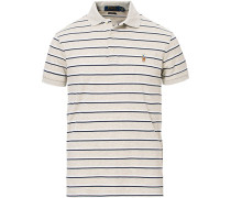 Custom Slim Fit Luxury Pima Baumwoll Stripe Polo Grey