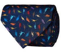 Silk Printed Dinosaur 8 cm Krawatte Navy