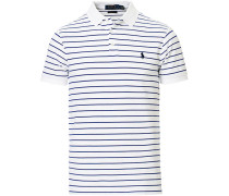 Slim Fit Stretch Mesh Stripe Polo Navy/White