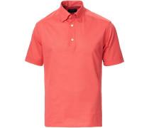 Slim Fit Kurzarm Pique Hemd Coral