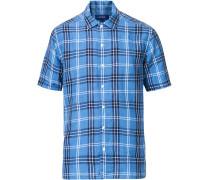 Slim Fit Checked Leinen Resort Hemd Blue