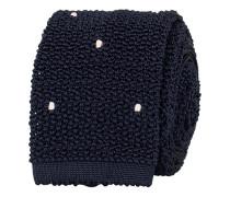 Stricked Silk Handsewn Spots 6.5 cm Krawatte Navy/White