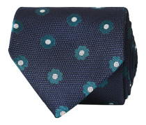 Silk Jacquard Woven Flower 8 cm Krawatte Navy