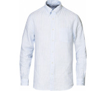 Regent Fit Irish Leinen Buttondownhemd White/Blue
