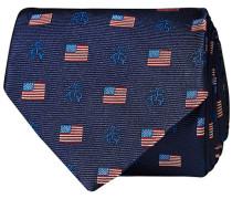 Embroided Logo 8 cm Silk Krawatte Navy Flag