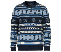 Nautical Embroided Knit Dark Blue