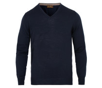 Merino V- Neck Pullover Navy