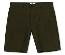 Crown Leinenshorts Army Green