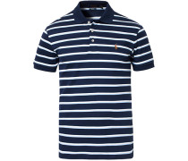 Custom Slim Fit Luxury Pima Baumwoll Stripe Polo Navy