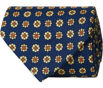 Silk Madder Printed Flower 8 cm Krawatte Navy