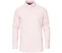 Slim Fit Lightweight Striped Pique Hemd Pink
