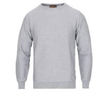 Herringbone Texture Merino Rundhalspullover Grey
