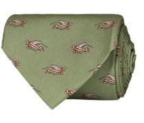 Silk Popline Printed Airplane 8 cm Krawatte Light Green