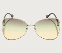 Sonnenbrille Gold/braun-grün-gelbe Gläser