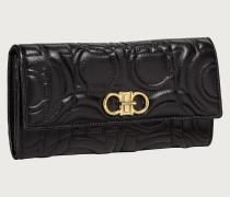 Gesteppte Brieftasche Kontinentalformat mit Gancini Element