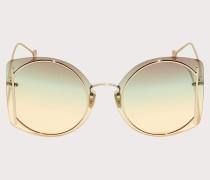 Sonnenbrille Glänzendes Goldfarbene/braungrün-gelbe Gläser