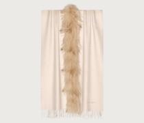 Schal mit Pelzeinsatz Weiß