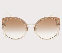 Sonnenbrille Goldfarbene/braune Gläser