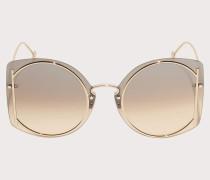 Sonnenbrille Glänzende Goldfarbene/braune Gläser