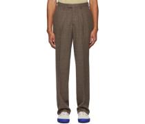 Wool Check Single-Pleat Anzug Hose