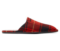 Red and Black Tartan Cosy Mule