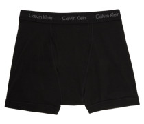 Three-Pack Black Cotton Boxer Slip