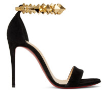Black and Gold Suede Planetava 100 Sandale