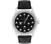Silver and Black G-Timeless Automatic Bees Uhr